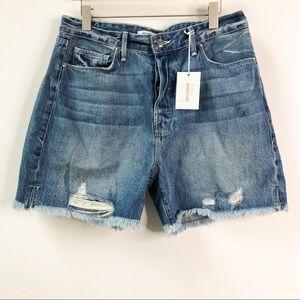 Good American High Waist Cutoff Distressed Shorts